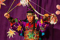 Kagura Performance Hachiman - Kagura or 'god entertainment' - Kagura'sorigins are in Japanese mythology and pre-dates even KabukiandNoh with regards to performing arts in Japan.  Kagura'sorigins are in Japanese mythology.It was originally offered toshintodeities to welcome and entertain them and performed only byshintopriests andmikoatshrines thanking and praying for abundant crops.  Kagura became common for the public to be enjoyed in modern times  The spectacle starts with a ritualistic dance to welcome the deities and then the entertaining performances follows. Performers dressed up in elaborate costumes dance to traditional Japanese instruments. The performers play deities, demons, and sometimes humans who appear in ancient Japanese mythology.