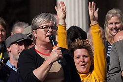 London, UK. 16 October, 2019. Caroline Russell, Green Party London Assembly Member, addresses hundreds of climate activists from Extinction Rebellion defying the Metropolitan Police prohibition on Extinction Rebellion Autumn Uprising protests throughout London under Section 14 of the Public Order Act 1986 by attending a Right to Protest assembly in Trafalgar Square.