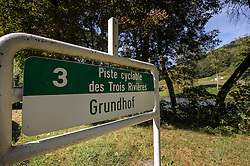 "GRUNDHOF, LUXEMBOURG - SEPT-9-2012 - A bike path marker for the ""Piste Cyclable des Trois Rivieres"" along the Sure river, in Grundhof, Luxembourg. (Photo © Jock Fistick)"