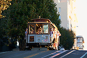 Riding the historic Powell-Hyde cable car in San Francisco, CA