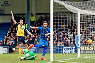 Gillingham FC defender Max Ehmer (5) sees a goal disallowed  during the EFL Sky Bet League 1 match between Gillingham and Scunthorpe United at the MEMS Priestfield Stadium, Gillingham, England on 16 February 2019.