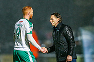 Wycombe Wanderers manager Gareth Ainsworth congratulates Plymouth Argyle forward Ryan Taylor (9) for a good game during the EFL Sky Bet League 1 match between Wycombe Wanderers and Plymouth Argyle at Adams Park, High Wycombe, England on 26 January 2019.