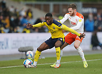 Oxford United's Olamide Shodipo and Blackpool's Oliver Turton<br /> <br /> Photographer Rob Newell/CameraSport<br /> <br /> Sky Bet League One Play-Off Semi-Final 1st Leg - Oxford United v Blackpool - Tuesday 18th May 2021 - Kassam Stadium - Oxford<br /> <br /> World Copyright © 2021 CameraSport. All rights reserved. 43 Linden Ave. Countesthorpe. Leicester. England. LE8 5PG - Tel: +44 (0) 116 277 4147 - admin@camerasport.com - www.camerasport.com