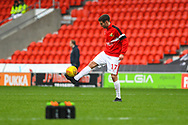 Matty Blair of Doncaster Rovers (17) warming up before the EFL Sky Bet League 1 match between Doncaster Rovers and Scunthorpe United at the Keepmoat Stadium, Doncaster, England on 15 December 2018.