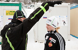 Matjaz Triplat, head coach of Slovenia with Spela Rogelj of Slovenia during Normal Hill Individual Competition at FIS World Cup Ski jumping Ladies Ljubno 2012, on February 12, 2012 in Ljubno ob Savinji, Slovenia. (Photo By Vid Ponikvar / Sportida.com)