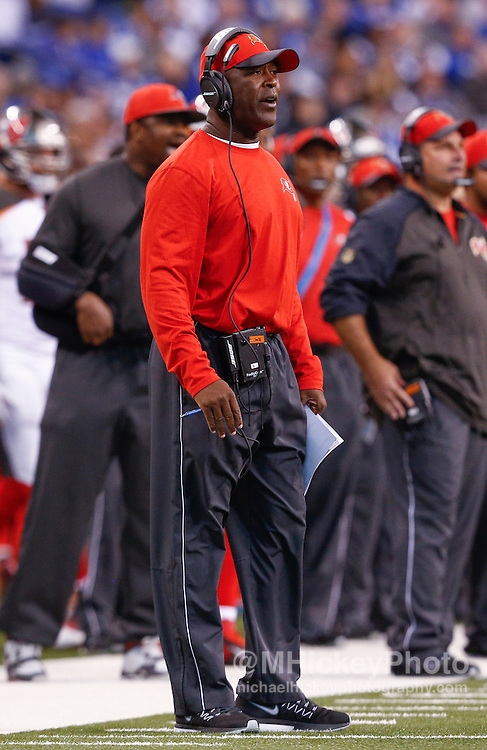 INDIANAPOLIS, IN - NOVEMBER 29 : Head coach Lovie Smith of the Tampa Bay Buccaneers is seen during the game against the Indianapolis Colts at Lucas Oil Stadium on November 29, 2015 in Indianapolis, Indiana. Indianapolis defeated Tampa Bay 25-12. (Photo by Michael Hickey/Getty Images) *** Local Caption *** Lovie Smith