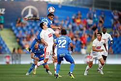 August 24, 2018 - Arambarri of Getafe and Kike of Eibar during the spanish league, La Liga, football match between Getafe and Eibar on August 24, 2018 at Coliseum Alfonso Perez stadium in Madrid, Spain. (Credit Image: © AFP7 via ZUMA Wire)