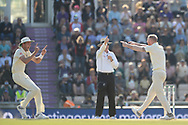 Stuart Broad and Ben Stokes of England celebrate the wicket of Ishant Sharma during the fourth day of the 4th SpecSavers International Test Match 2018 match between England and India at the Ageas Bowl, Southampton, United Kingdom on 2 September 2018.