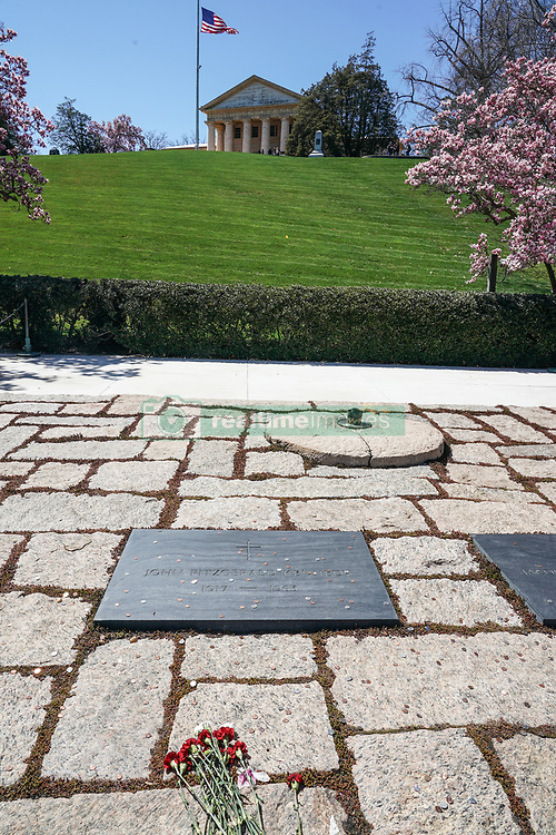 A memorial to JF Kennedy in Arlington Cemetery in Washington DC in the United States. From a series of travel photos in the United States. Photo date: Saturday, March 31, 2018. Photo credit should read: Richard Gray/EMPICS