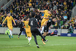 MELBOURNE, Sept. 5, 2017  Tomi Juric (2nd R) of Australia heads the ball during the FIFA world cup 2018 qualification match between Australia and Thailand at Melbourne Rectangular Stadium in Melbourne, Australia, Sept. 5, 2017. Australia won 2-1.   Xinhua/ (Credit Image: © Zhu Hongye/Xinhua via ZUMA Wire)