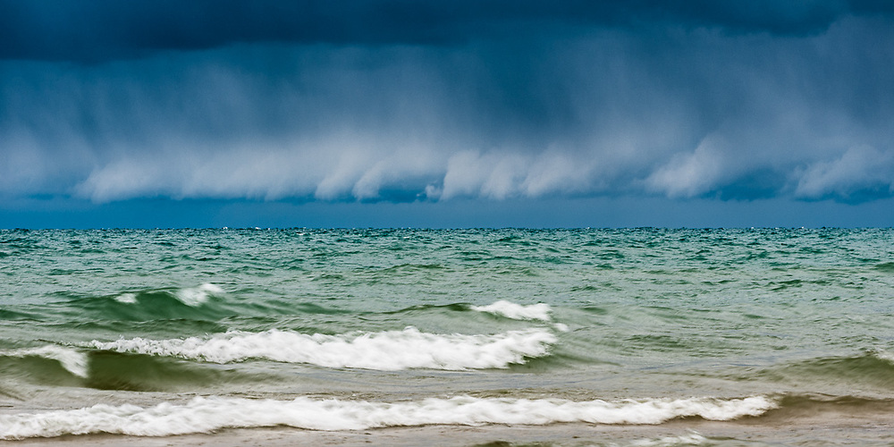 Storm over Lake Michigan north shore, October, U.S. Highway 2, Upper Peninsula, Michigan, USA