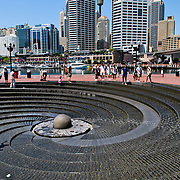 Spiral shaped fountain at Darling Harbour in Sydney