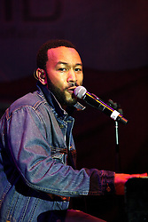 16 May 2010. New Orleans, Louisiana. <br /> Gulf Aid - a benefit festival for Louisiana fishermen and our coast.<br /> John Legend on the Wetlands indoor stage. <br /> Local musicians have gathered together in response to BP's massive oil spill in the Gulf of Mexico, threatening the very fabric of an entire region. All proceeds from the event will be used to support local fishing communities and the region.<br /> Photo credit; Charlie Varley/varleypix.com