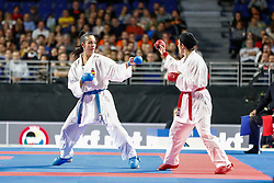 November 10, 2018 - Madrid, Madrid, Spain - Cristina Vizcaino of Spain, Iran Team and Spain Team for the bronce medal and the third place of Female Kumite for Team tournament during the Finals of Karate World Championship celebrates in Wizink Center, Madrid, Spain, on November 10th, 2018. (Credit Image: © AFP7 via ZUMA Wire)