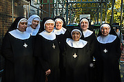 Sistersgather outside the Tyburn Convent on Bayswater Rd, London.