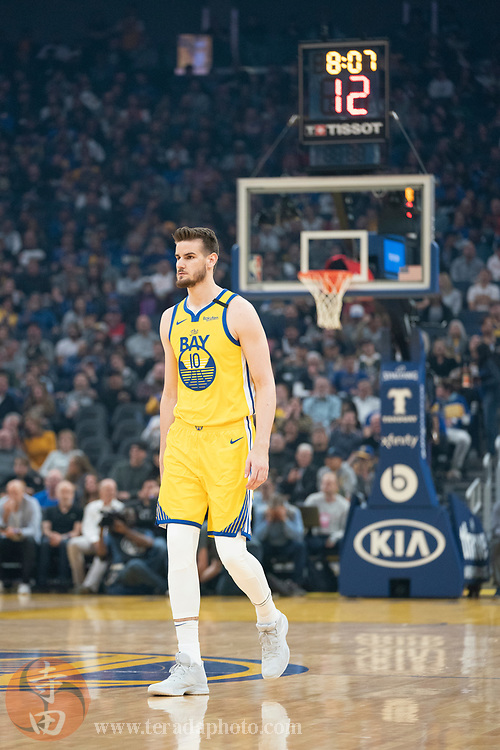 February 23, 2020; San Francisco, California, USA; Golden State Warriors center Dragan Bender (10) during the first quarter against the New Orleans Pelicans at Chase Center.