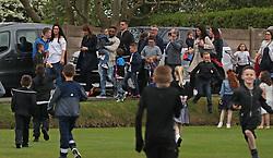 England footballer Jermain Defoe carries terminally ill football mascot Bradley Lowery, as he celebrates his sixth birthday at Blackhall Cricket Club near Durham.