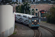Metrolink Train Coming Around The Corner With Seagulls Flying Above