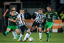 (L-R) Jens Toornstra of Feyenoord, Joey Pelupessy of Heracles Almelo, Kristoffer Peterson of Heracles Almelo, Steven Berghuis of Feyenoord during the Dutch Eredivisie match between Heracles Almelo and Feyenoord Rotterdam at Polman stadium on September 09, 2017 in Almelo, The Netherlands