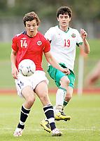 Fotball , <br /> Landslag gutt 19 G19 , <br /> 29.04.08 , <br /> Lisleby stadion , <br /> 2 EM kvalifiseringsrunde , <br /> Even Hovland , <br /> Ismail Isa Mustafa , <br /> Foto: Thomas Andersen / Digitalsport