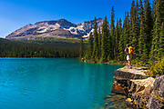 Hiker at Lake O'hara, Yoho National Park, British Columbia, Canada
