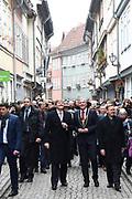 Werkbezoek van Zijne Majesteit de Koning, vergezeld door Hare Majesteit Koningin Maxima aan de Duitse deelstaten Thüringen, Saksen en Saksen-Anhalt<br /> <br /> Working visit of His Majesty the King, accompanied by Her Majesty Queen Maxima in the German states of Thuringia, Saxony and Saxony-Anhalt<br /> <br /> op de foto / On the Photo:  Koninklijk paar bij de Krämerbrücke / Royal couple at the Krämerbrücke