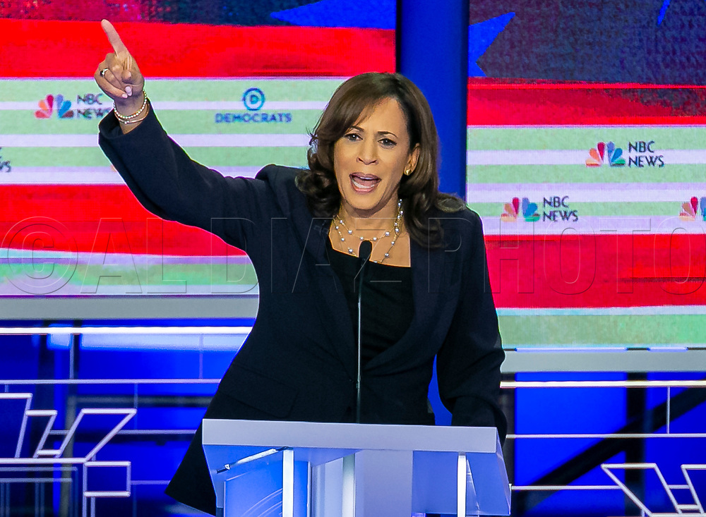 Democratic presidential candidate Sen. Kamala Harris (D-CA) speaks during the first primary debate for the 2020 elections at the Adrienne Arsht Center for the Performing Arts in downtown Miami on Thursday, June 27, 2019.