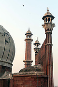 Details of the minarets of the Jama Masjid in Old Delhi. <br /> The Masjid-i Jahan-Numa World-reflecting Mosque, commonly known as the Jama Masjid, is one of the largest mosques in India. It was built by Mughal Emperor Shah Jahan between 1644 and 1656.