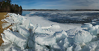 Composite of four images showing Leslie E. Roberts Beach in Belmont with large ice chunks washed up on shore as the ice breaks up on Lake Winnisquam due to strong winds throughout this week.  (Karen Bobotas/for the Laconia Daily Sun)