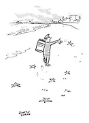 (A local authority employee at a seaside resort throws starfish onto the beach)