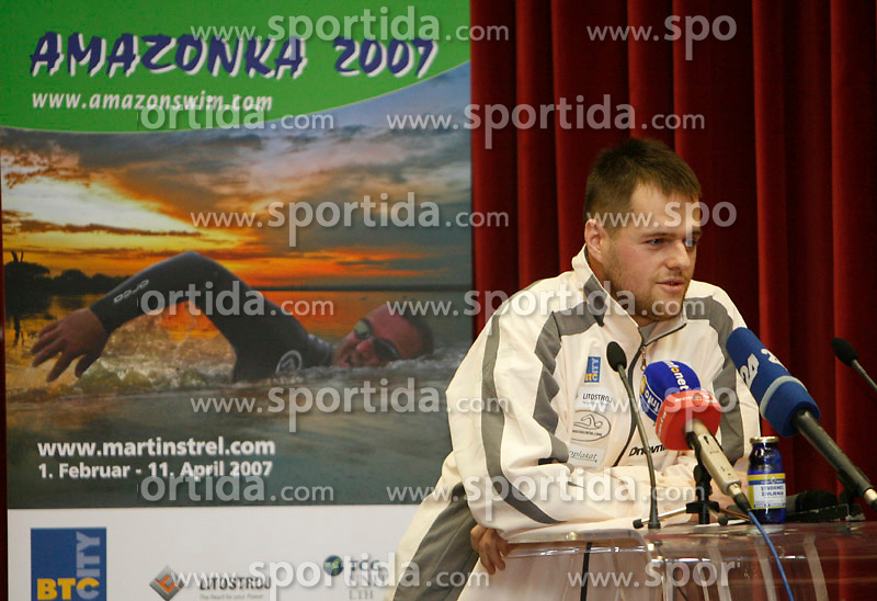 Borut Strel at press conference before departure to South America - Peru, where Martin Strel wants to set a world record by swimming 5268 Kms (3274 Miles) down the Amazon river, on January 23, 2007 in BTC, Ljubljana, Slovenia. (Photo by Vid Ponikvar / Sportida)