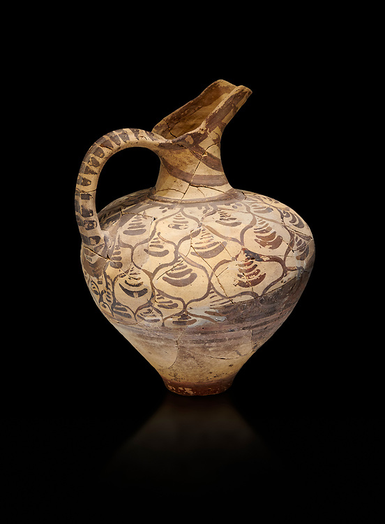 """Minoan decorated jug  with stylised floral design , Konssos  'Unexplored Mansion"""" 1450-1370 BC; 1400-1250 BC; Heraklion Archaeological  Museum, black background .<br /> <br /> If you prefer to buy from our ALAMY PHOTO LIBRARY  Collection visit : https://www.alamy.com/portfolio/paul-williams-funkystock/minoan-art-artefacts.html . Type -   Heraklion   - into the LOWER SEARCH WITHIN GALLERY box. Refine search by adding background colour, place, museum etc<br /> <br /> Visit our MINOAN ART PHOTO COLLECTIONS for more photos to download  as wall art prints https://funkystock.photoshelter.com/gallery-collection/Ancient-Minoans-Art-Artefacts-Antiquities-Historic-Places-Pictures-Images-of/C0000ricT2SU_M9w"""