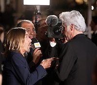 Iggy Pop and Director Jim Jarmusch being interviewed at the gala screening for the film Gimme Danger at the 69th Cannes Film Festival, Thursday 19th May 2016, Cannes, France. Photography: Doreen Kennedy