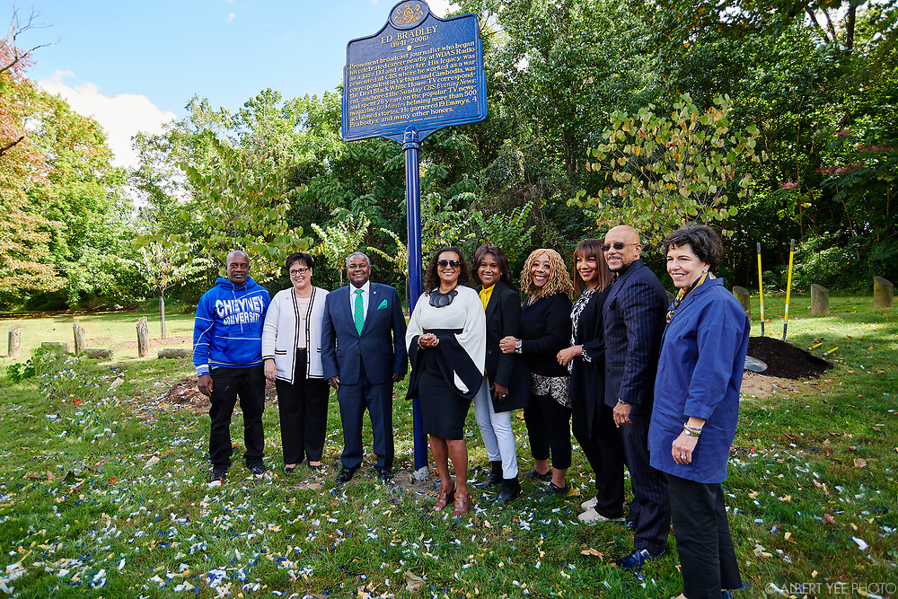 L-R: <br /> LeRoy McCarthy, Project Initiator for Ed Bradley Historical Marker<br /> <br /> Kathryn Ott Lovell, Commissioner, Philadelphia Parks & Recreation<br /> <br /> Aaron A. Walton, President of Cheyney University<br /> <br /> Patricia Blanchet, Ed Bradley's widow<br /> <br /> Magalie Laguerre-Wilkinson, Vice President News Programming at Nickelodeon and Executive Producer, Nick News, mentee of Ed Bradley<br /> <br /> Patty Jackson, On-Air Personality, WDAS<br /> <br /> Arthel Neville, Anchor, Fox News, mentee of Ed Bradley, Emcee<br /> <br /> Vincent J. Hughes, PA-7 State Senator<br /> <br /> Nancy Moses, Chair, Pennsylvania Historical and Museum Commission<br /> <br /> Patricia Blanchet, widow of Ed Bradley, will lead a loving tribute to Ed Bradley, a Philadelphia-born legendary journalist. The Pennsylvania Historical and Museum Commission has created an historical marker to be placed in West Fairmount Park, not far from the radio station where Bradley began his broadcast career at WDAS on Edgely Avenue. Bradley would have turned 80 in June 2021, so the celebration is a fitting tribute to this trailblazing son of Philadelphia. In addition to the unveiling of the historical marker highlighting Bradley's life, a small grove of nine trees has been planted in the surrounding area to further enhance Fairmount Park.<br /> <br /> for Fairmount Park Conservancy<br /> September 26, 2021