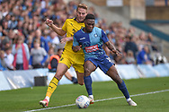 Wycombe Wanderers striker (on loan from Millwall) Fred Onyedinma (19) holds up the ball during the EFL Sky Bet League 1 match between Wycombe Wanderers and Oxford United at Adams Park, High Wycombe, England on 15 September 2018.