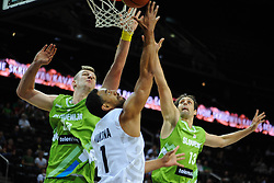 Mika Vukonen of New Zealand between Alen Omic of Slovenia and Domen Lorbek of Slovenia during friendly match between National Teams of Slovenia and New Zealand before World Championship Spain 2014 on August 16, 2014 in Kaunas, Lithuania. Photo by Robertas Dackus / Sportida.com