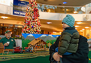Dec. 26, 2012 - Garden City, New York, U.S. - The Long Island Garden Railway Society large-scale model train display surrounds a large decorated Christmas tree for a festive winter holiday attraction in the vast 3-floor atrium of Cradle of Aviation museum, until shortly after New Years Day 2013. This young boy came with his family, and a member of LIGRS is in the center area, available to answer visitors' questions. LIGRS shares the knowledge, fun, and camaraderie of large-scale railroading both indoors and in the garden, and is family oriented.