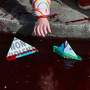 The protest group Extinction Rebellion stage a protest of fake blood in front of Downing Street ten, 9th March 2019, Central London, United Kingdom. Whitehall was closed for traffic while the group staged their 'The Blood of Our Children' action where they poored hundreds of liters of fake blood across the road. After the blood was spilt a number of speakers, including children spoke of their fears of the future where man made climate change could have a devastating effect on the planet and human life. The group Extinction Rebellion is a movement which wants to force the Government to introduce radical climate change policies using civil disobedience and mass arrests.