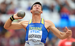 Ukraine's Oleksiy Kasyanov competes in the Men's Decathlon Shot Put during day eight of the 2017 IAAF World Championships at the London Stadium.