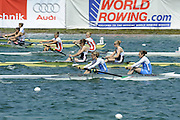 Munich, GERMANY, GBR W2-. Bow Georgina MENHENEOTT and Baz MOFFAT. At the start, during the FISA World Cup at the Munich Olympic Rowing Course, Thur's.  08.05.2008  [Mandatory Credit Peter Spurrier/ Intersport Images] Rowing Course, Olympic Regatta Rowing Course, Munich, GERMANY