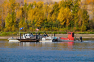 Photo Randy Vanderveen<br /> Grande Prairie, Alberta<br /> 2020-10-01<br /> The Shaftesbury Ferry remains busy in early October as it shuttles vehicles back and forth across the Peace River near Tangent Park. The ferry, while an essential part of the transportation infrastructure in the area, is also popular with people out exploring the Peace River area.