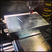 """The start of the """"Modern Industry"""" camera. This was the first cuts on my mill in my studio in Tucson Arizona."""