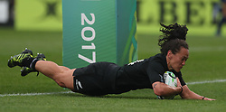 New Zealand's Portia Woodman scores her side's second try during the 2017 Women's World Cup, Semi Final match at the Kingspan Stadium, Belfast.