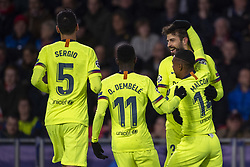 November 28, 2018 - Eindhoven, Netherlands - Gerard Pique of Barcelona celebrates his scoring with teammates during the UEFA Champions League Group B match between PSV Eindhoven and FC Barcelona at Philips Stadium in Eindhoven, Netherlands on November 28, 2018  (Credit Image: © Andrew Surma/NurPhoto via ZUMA Press)