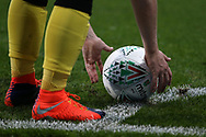 a close up of the new Mitre Delta ball which will be in use for the 2017/18 season as a Burton Albion player places it for a corner. Carabao Cup 2nd round match, Cardiff city v Burton Albion at the Cardiff City Stadium in Cardiff, South Wales on Tuesday 22nd August  2017.<br /> pic by Andrew Orchard, Andrew Orchard sports photography.