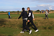 Thomas Sloman (GB&I) and Thomas Plumb (GB&I) on the 6th tee during Day 2 Foursomes of the Walker Cup, Royal Liverpool Golf CLub, Hoylake, Cheshire, England. 08/09/2019.<br /> Picture Thos Caffrey / Golffile.ie<br /> <br /> All photo usage must carry mandatory copyright credit (© Golffile   Thos Caffrey)