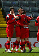 GOAL 3-2 Wigan Athletic forward Will Keane(10) is congratulated by team mates after scoring  during the EFL Sky Bet League 1 match between Rochdale and Wigan Athletic at the Crown Oil Arena, Rochdale, England on 16 January 2021.