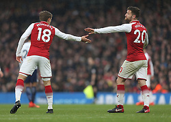 18 November 2017 London : Premier League Football : Arsenal v Tottenham Hotspur - Nacho Monreal and Shkodran Mustafi of Arsenal congratulate each other on their defending.<br /> (photo by Mark Leech)