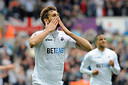 Fernando Llorente of Swansea City celebrates after he scores his teams 1st goal against Everton.<br /> Premier league match, Swansea city v Everton at the Liberty Stadium in Swansea, South Wales on Saturday 6th May 2017.<br /> pic by  Phil Rees, Andrew Orchard sports photography.