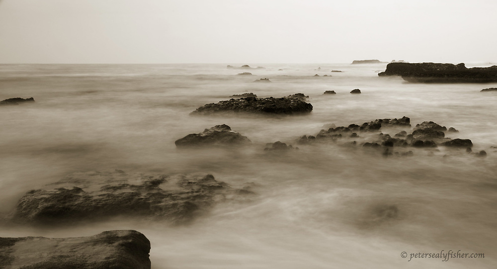 Jagged rocks that threaten passing ships with watery graves off the coast of Kenton on Sea.